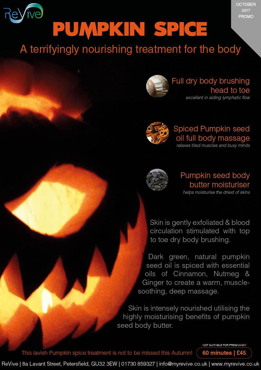 Pumpkin Spice October 2017 promo ReVive Petersfield