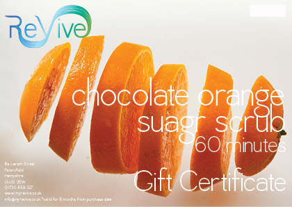chocolate orange sugar scrub gift certificate