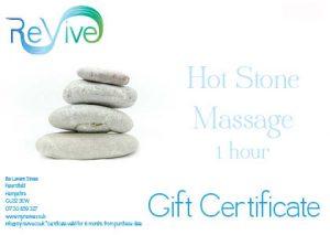 hot stone massage Petersfield gift certificate