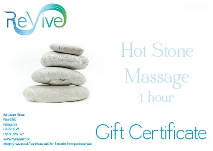 hot stone massage Petersfield gift certificate