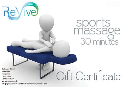 sports massage 30 minutes gift certificate