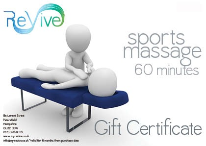 sports massage 60 minutes gift certificate